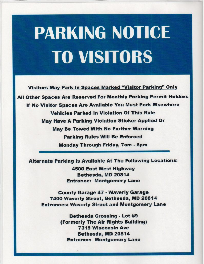 Image of parking notice to visitors